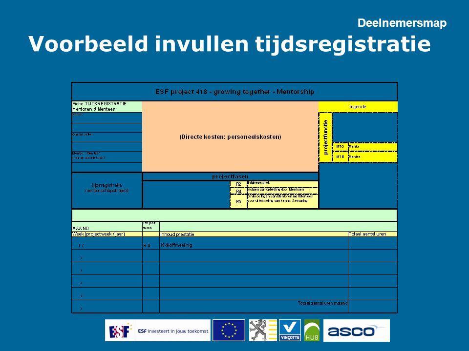 Voorbeeld invullen tijdsregistratie Deelnemersmap