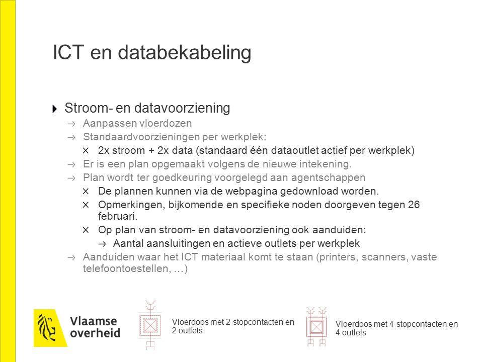 ICT en databekabeling Stroom- en datavoorziening Aanpassen vloerdozen Standaardvoorzieningen per werkplek: 2x stroom + 2x data (standaard één dataoutlet actief per werkplek) Er is een plan opgemaakt volgens de nieuwe intekening.