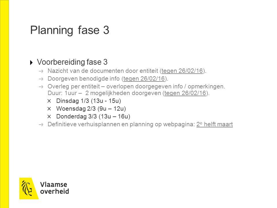 Planning fase 3 Voorbereiding fase 3 Nazicht van de documenten door entiteit (tegen 26/02/16).