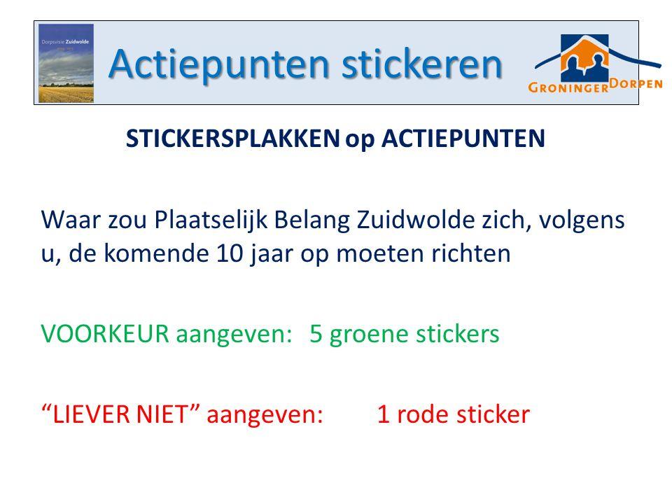 Actiepunten stickeren STICKERSPLAKKEN op ACTIEPUNTEN Waar zou Plaatselijk Belang Zuidwolde zich, volgens u, de komende 10 jaar op moeten richten VOORKEUR aangeven:5 groene stickers LIEVER NIET aangeven:1 rode sticker