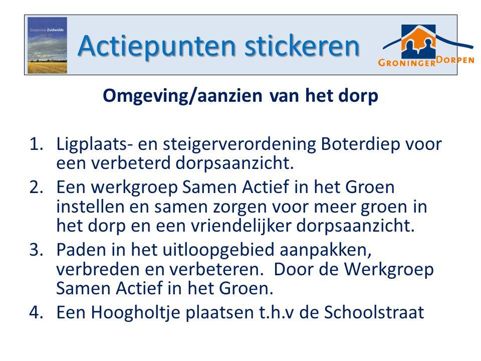 Actiepunten stickeren Omgeving/aanzien van het dorp 1.Ligplaats- en steigerverordening Boterdiep voor een verbeterd dorpsaanzicht. 2.Een werkgroep Sam