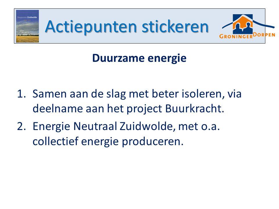 Actiepunten stickeren Duurzame energie 1.Samen aan de slag met beter isoleren, via deelname aan het project Buurkracht. 2.Energie Neutraal Zuidwolde,