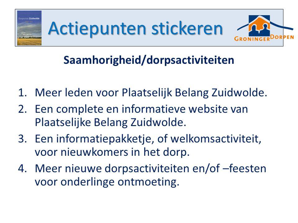 Actiepunten stickeren Saamhorigheid/dorpsactiviteiten 1.Meer leden voor Plaatselijk Belang Zuidwolde. 2.Een complete en informatieve website van Plaat