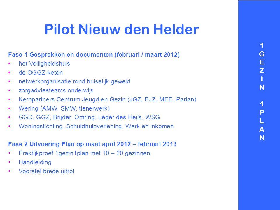Pilot Nieuw den Helder Fase 1 Gesprekken en documenten (februari / maart 2012) het Veiligheidshuis de OGGZ-keten netwerkorganisatie rond huiselijk gew