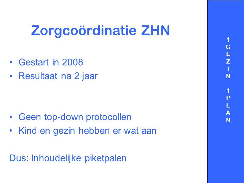 Zorgcoördinatie ZHN Gestart in 2008 Resultaat na 2 jaar Geen top-down protocollen Kind en gezin hebben er wat aan Dus: Inhoudelijke piketpalen 1GEZIN1