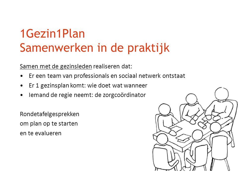 1Gezin1Plan Samenwerken in de praktijk Samen met de gezinsleden realiseren dat: Er een team van professionals en sociaal netwerk ontstaat Er 1 gezinsp