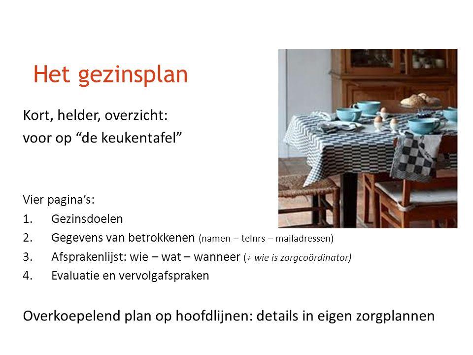 """Het gezinsplan Kort, helder, overzicht: voor op """"de keukentafel"""" Vier pagina's: 1.Gezinsdoelen 2.Gegevens van betrokkenen (namen – telnrs – mailadress"""