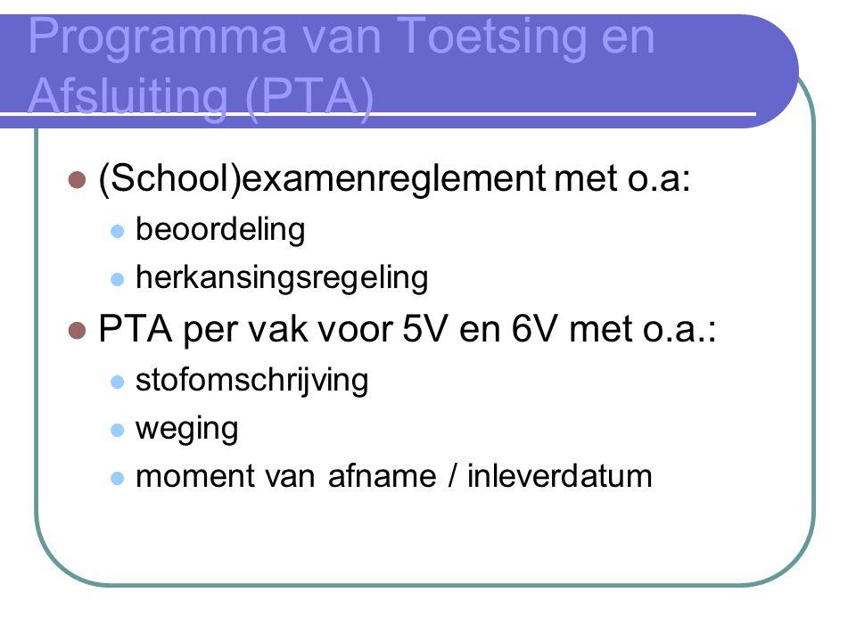 Programma van Toetsing en Afsluiting (PTA) (School)examenreglement met o.a: beoordeling herkansingsregeling PTA per vak voor 5V en 6V met o.a.: stofomschrijving weging moment van afname / inleverdatum