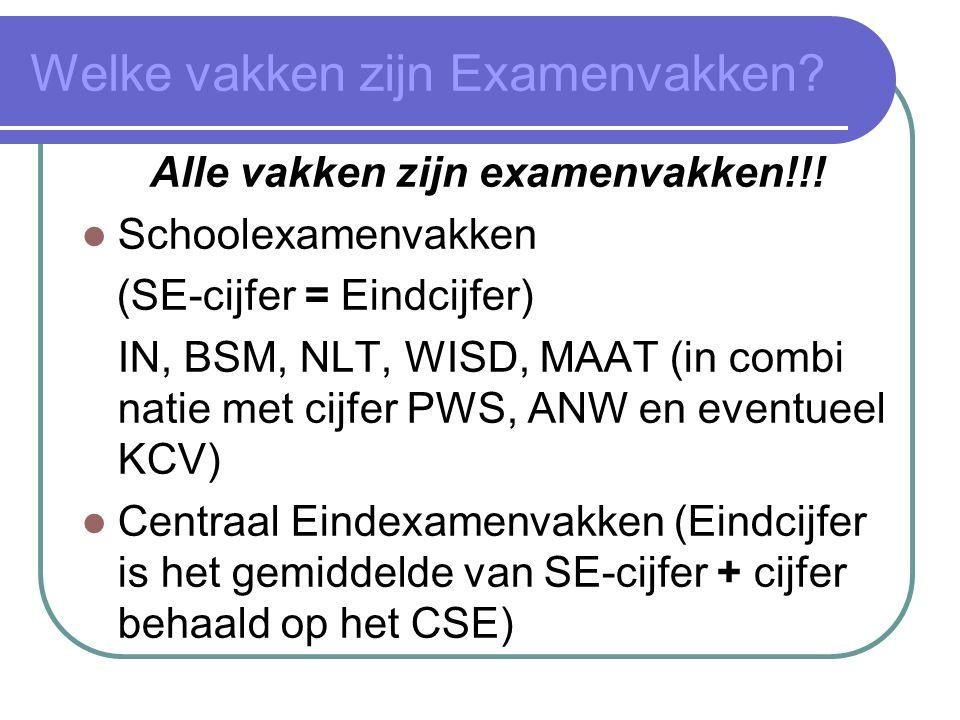 Welke vakken zijn Examenvakken. Alle vakken zijn examenvakken!!.