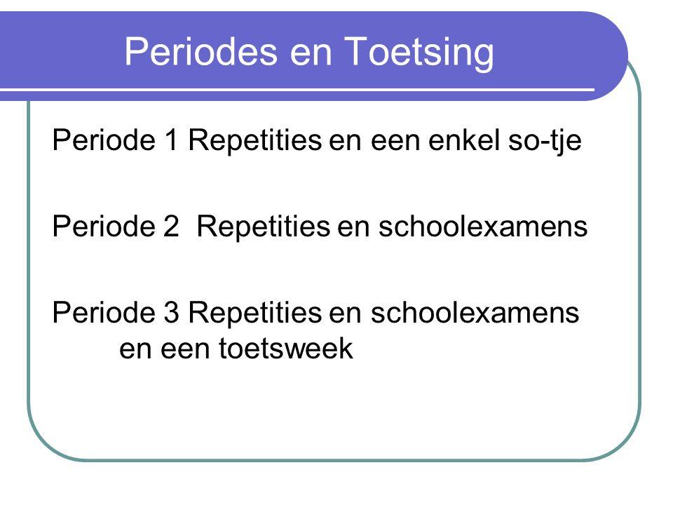 Periodes en Toetsing Periode 1 Repetities en een enkel so-tje Periode 2 Repetities en schoolexamens Periode 3 Repetities en schoolexamens en een toetsweek
