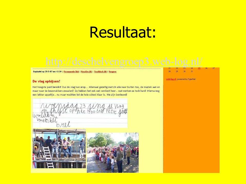 Resultaat: http://deschelvengroep3.web-log.nl/