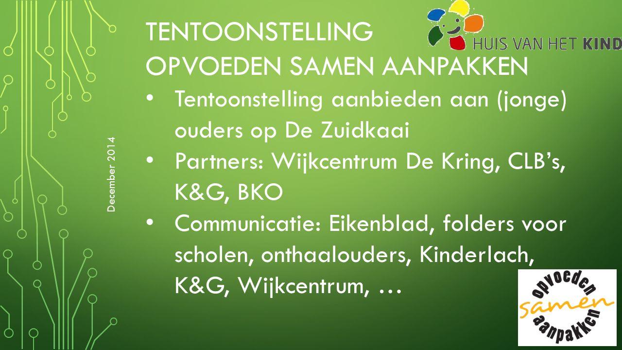 TENTOONSTELLING OPVOEDEN SAMEN AANPAKKEN Tentoonstelling aanbieden aan (jonge) ouders op De Zuidkaai Partners: Wijkcentrum De Kring, CLB's, K&G, BKO C