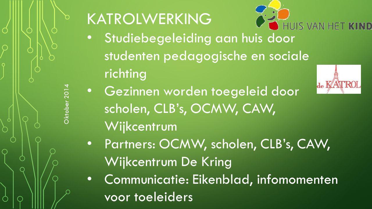 KATROLWERKING Studiebegeleiding aan huis door studenten pedagogische en sociale richting Gezinnen worden toegeleid door scholen, CLB's, OCMW, CAW, Wij