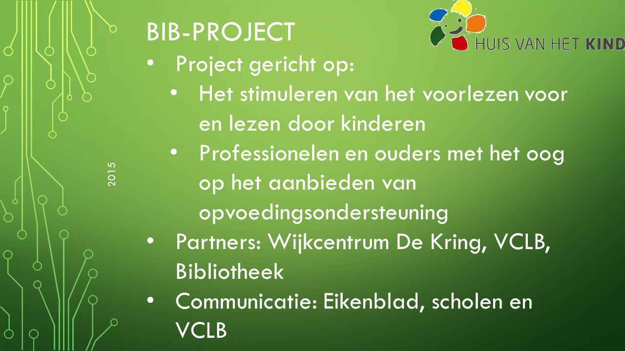BIB-PROJECT Project gericht op: Het stimuleren van het voorlezen voor en lezen door kinderen Professionelen en ouders met het oog op het aanbieden van