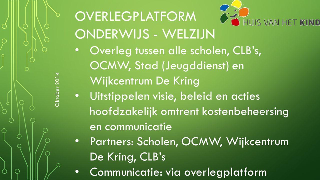 OVERLEGPLATFORM ONDERWIJS - WELZIJN Overleg tussen alle scholen, CLB's, OCMW, Stad (Jeugddienst) en Wijkcentrum De Kring Uitstippelen visie, beleid en