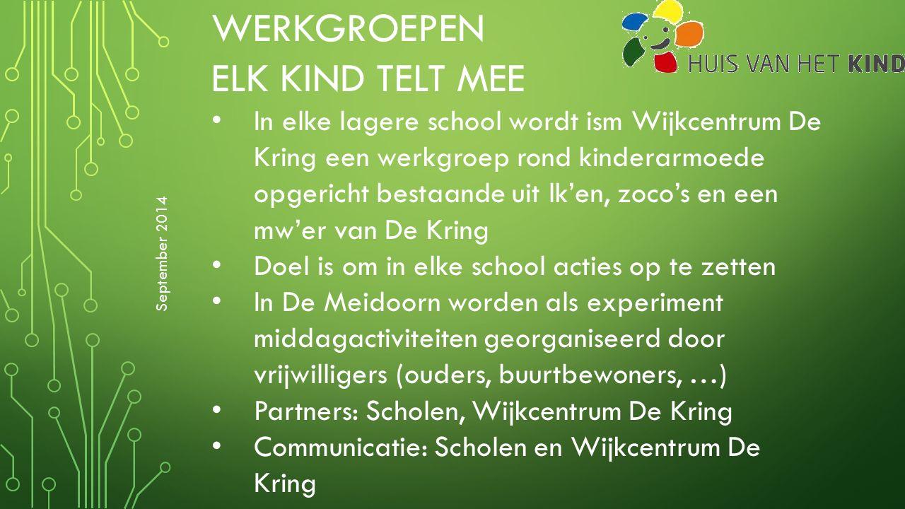 WERKGROEPEN ELK KIND TELT MEE In elke lagere school wordt ism Wijkcentrum De Kring een werkgroep rond kinderarmoede opgericht bestaande uit lk'en, zoc