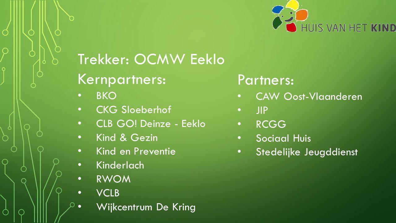 Trekker: OCMW Eeklo Kernpartners: BKO CKG Sloeberhof CLB GO! Deinze - Eeklo Kind & Gezin Kind en Preventie Kinderlach RWOM VCLB Wijkcentrum De Kring P