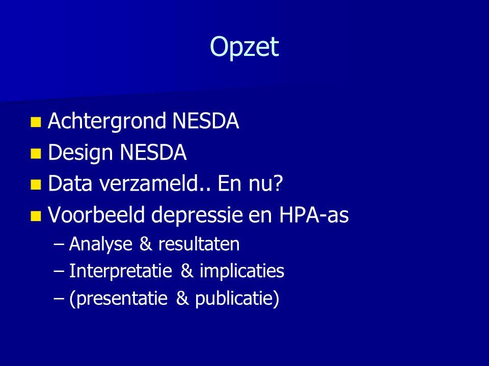 Opzet Achtergrond NESDA Design NESDA Data verzameld..