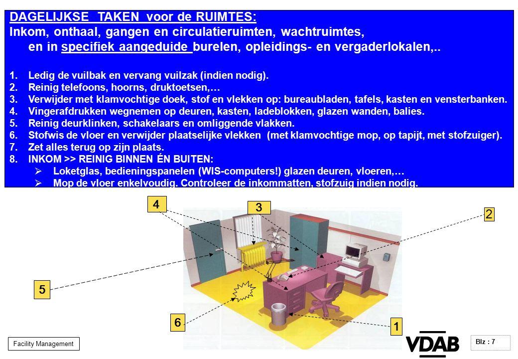 Facility Management Blz : 7 DAGELIJKSE TAKEN voor de RUIMTES: Inkom, onthaal, gangen en circulatieruimten, wachtruimtes, en in specifiek aangeduide burelen, opleidings- en vergaderlokalen,..