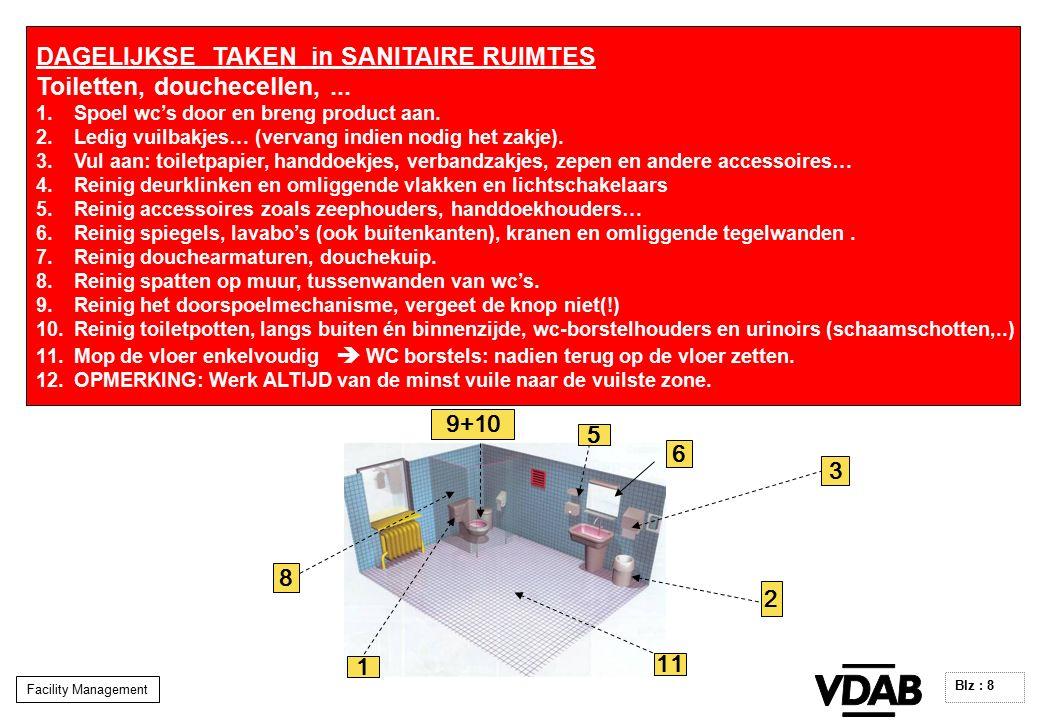 Facility Management Blz : 8 DAGELIJKSE TAKEN in SANITAIRE RUIMTES Toiletten, douchecellen,...