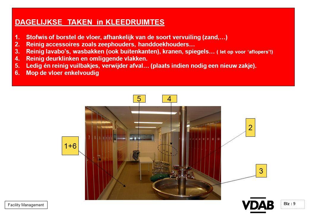 Facility Management Blz : 9 DAGELIJKSE TAKEN in KLEEDRUIMTES 1.Stofwis of borstel de vloer, afhankelijk van de soort vervuiling (zand,…) 2.Reinig accessoires zoals zeephouders, handdoekhouders… 3.Reinig lavabo's, wasbakken (ook buitenkanten), kranen, spiegels… ( let op voor 'aflopers'!) 4.Reinig deurklinken en omliggende vlakken.