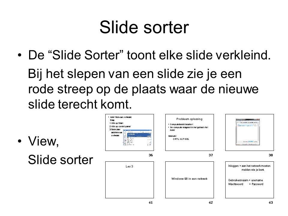 Slide sorter De Slide Sorter toont elke slide verkleind.