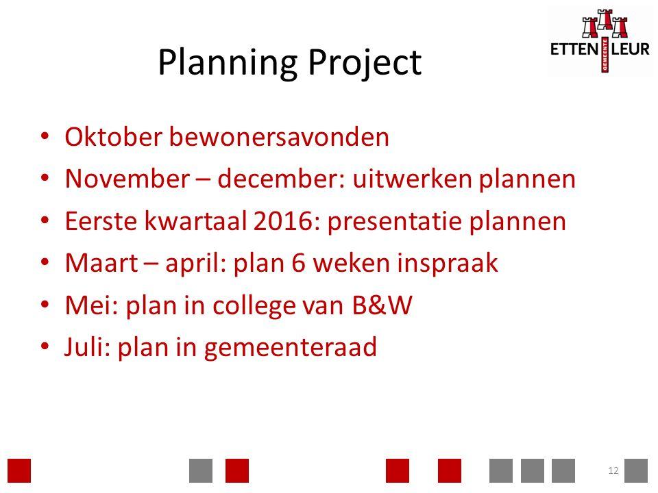 Planning Project Oktober bewonersavonden November – december: uitwerken plannen Eerste kwartaal 2016: presentatie plannen Maart – april: plan 6 weken