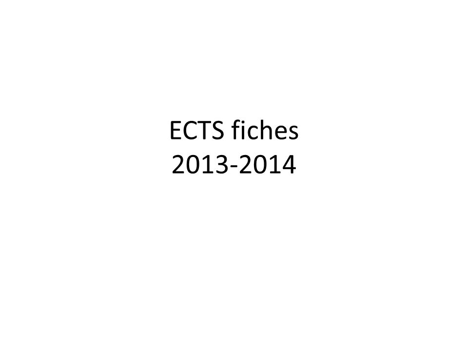 ECTS fiches 2013-2014