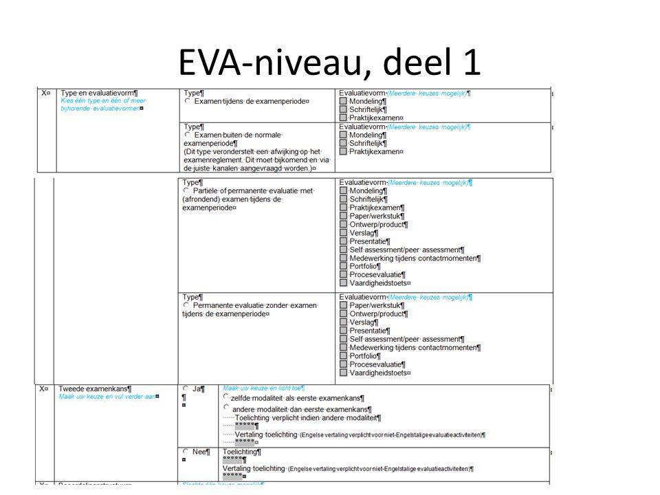 EVA-niveau, deel 1