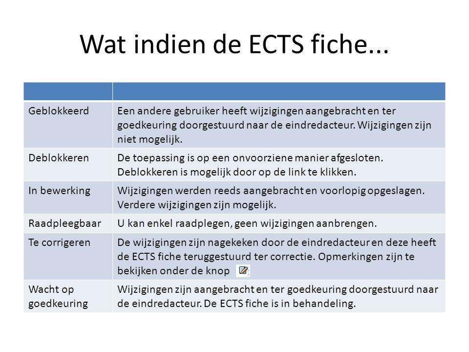 Wat indien de ECTS fiche... GeblokkeerdEen andere gebruiker heeft wijzigingen aangebracht en ter goedkeuring doorgestuurd naar de eindredacteur. Wijzi