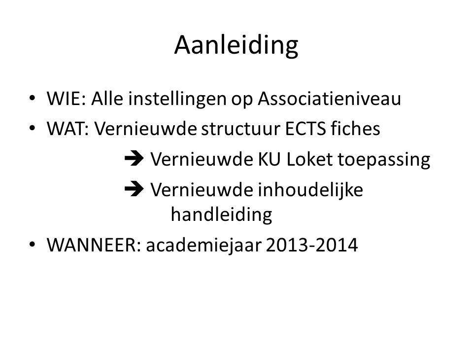Aanleiding WIE: Alle instellingen op Associatieniveau WAT: Vernieuwde structuur ECTS fiches  Vernieuwde KU Loket toepassing  Vernieuwde inhoudelijke handleiding WANNEER: academiejaar 2013-2014