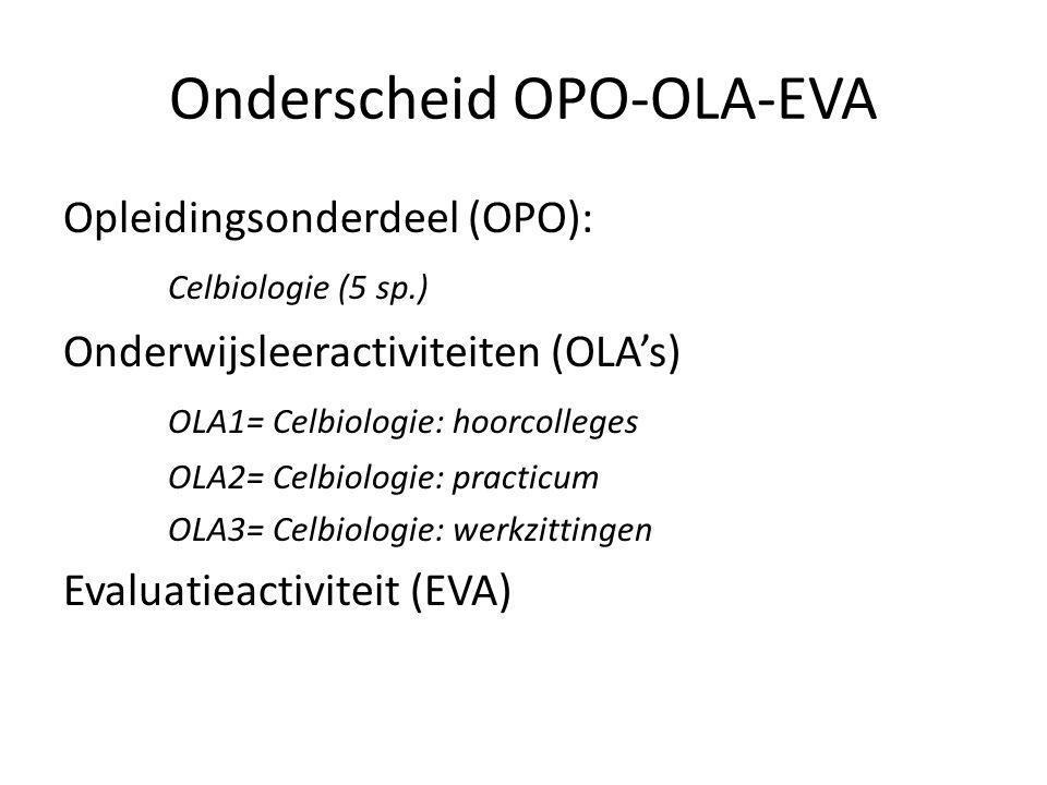 Onderscheid OPO-OLA-EVA Opleidingsonderdeel (OPO): Celbiologie (5 sp.) Onderwijsleeractiviteiten (OLA's) OLA1= Celbiologie: hoorcolleges OLA2= Celbiologie: practicum OLA3= Celbiologie: werkzittingen Evaluatieactiviteit (EVA)