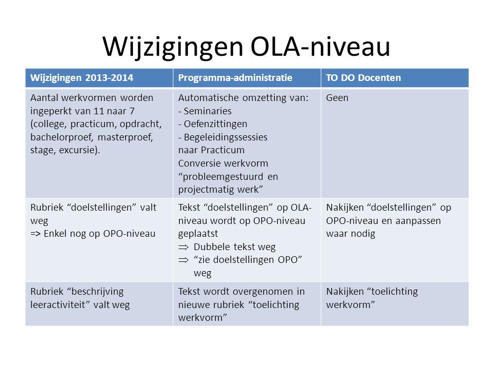 Wijzigingen OLA-niveau Wijzigingen 2013-2014Programma-administratieTO DO Docenten Aantal werkvormen worden ingeperkt van 11 naar 7 (college, practicum, opdracht, bachelorproef, masterproef, stage, excursie).