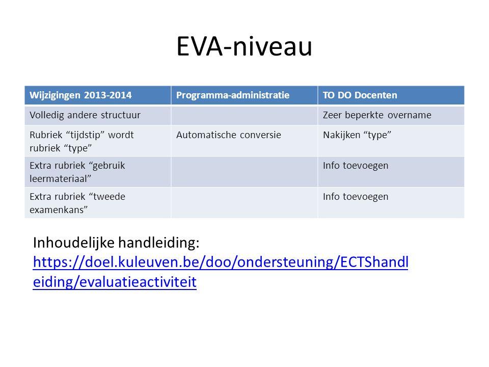 """EVA-niveau Wijzigingen 2013-2014Programma-administratieTO DO Docenten Volledig andere structuurZeer beperkte overname Rubriek """"tijdstip"""" wordt rubriek"""
