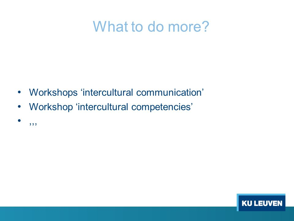 What to do more? Workshops 'intercultural communication' Workshop 'intercultural competencies',,,