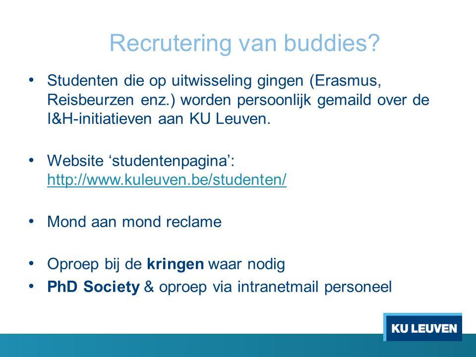 Internationale studenten motiveren Internationale studenten vinden de weg naar het buddy programma via de website 'Welcome': http://www.kuleuven.be/welcome/ en via persoonlijke uitnodiging (enkel voor Erasmusstudenten) http://www.kuleuven.be/welcome/