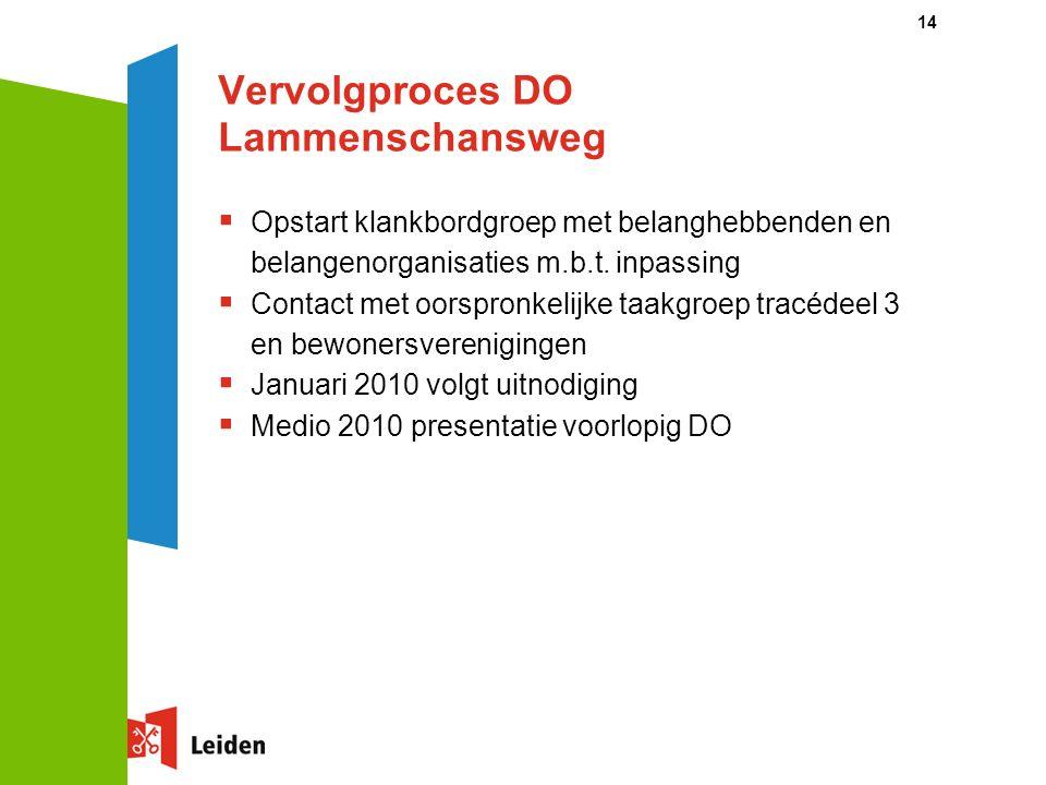 14 Vervolgproces DO Lammenschansweg  Opstart klankbordgroep met belanghebbenden en belangenorganisaties m.b.t.