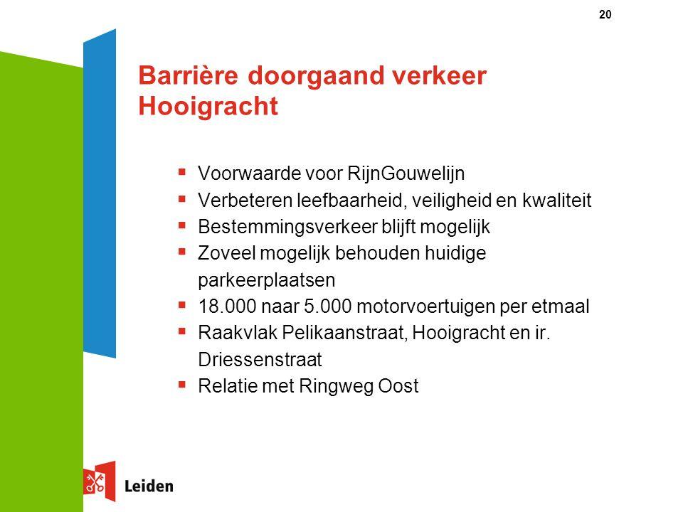 20 Barrière doorgaand verkeer Hooigracht  Voorwaarde voor RijnGouwelijn  Verbeteren leefbaarheid, veiligheid en kwaliteit  Bestemmingsverkeer blijft mogelijk  Zoveel mogelijk behouden huidige parkeerplaatsen  18.000 naar 5.000 motorvoertuigen per etmaal  Raakvlak Pelikaanstraat, Hooigracht en ir.