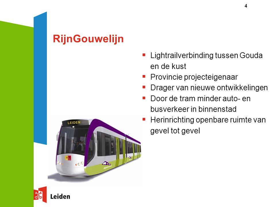 4  Lightrailverbinding tussen Gouda en de kust  Provincie projecteigenaar  Drager van nieuwe ontwikkelingen  Door de tram minder auto- en busverkeer in binnenstad  Herinrichting openbare ruimte van gevel tot gevel RijnGouwelijn