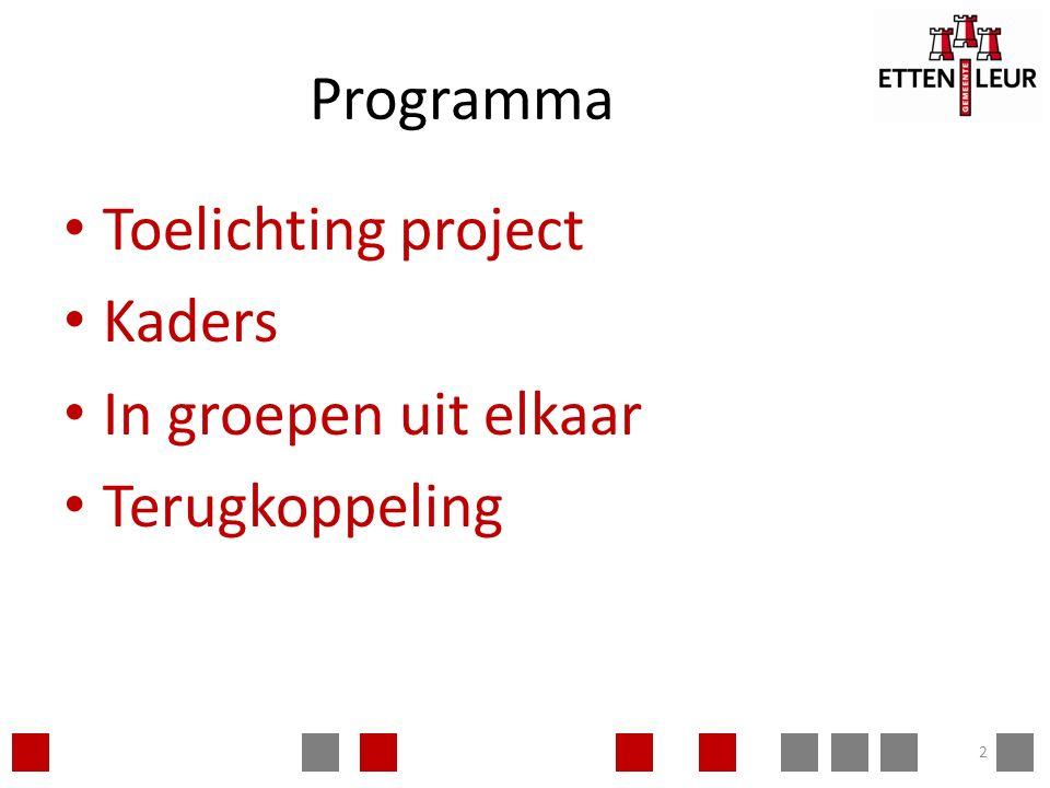 Programma Toelichting project Kaders In groepen uit elkaar Terugkoppeling 2