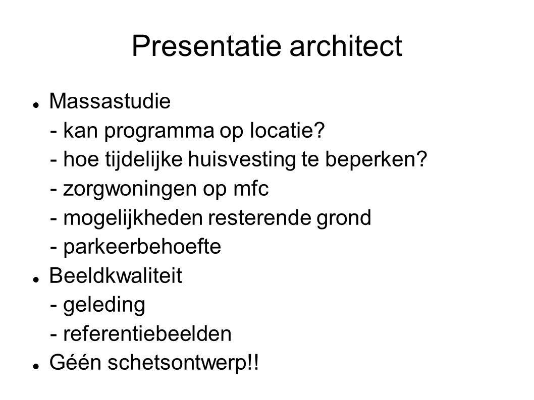 Presentatie architect Massastudie - kan programma op locatie.