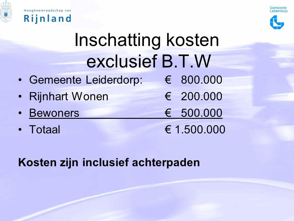 Inschatting kosten exclusief B.T.W Gemeente Leiderdorp: € 800.000 Rijnhart Wonen€ 200.000 Bewoners€ 500.000 Totaal€ 1.500.000 Kosten zijn inclusief achterpaden