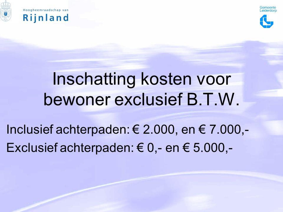 Inschatting kosten voor bewoner exclusief B.T.W.