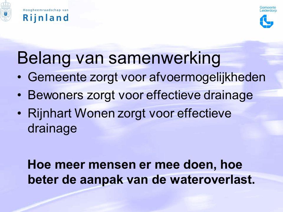 Belang van samenwerking Gemeente zorgt voor afvoermogelijkheden Bewoners zorgt voor effectieve drainage Rijnhart Wonen zorgt voor effectieve drainage Hoe meer mensen er mee doen, hoe beter de aanpak van de wateroverlast.