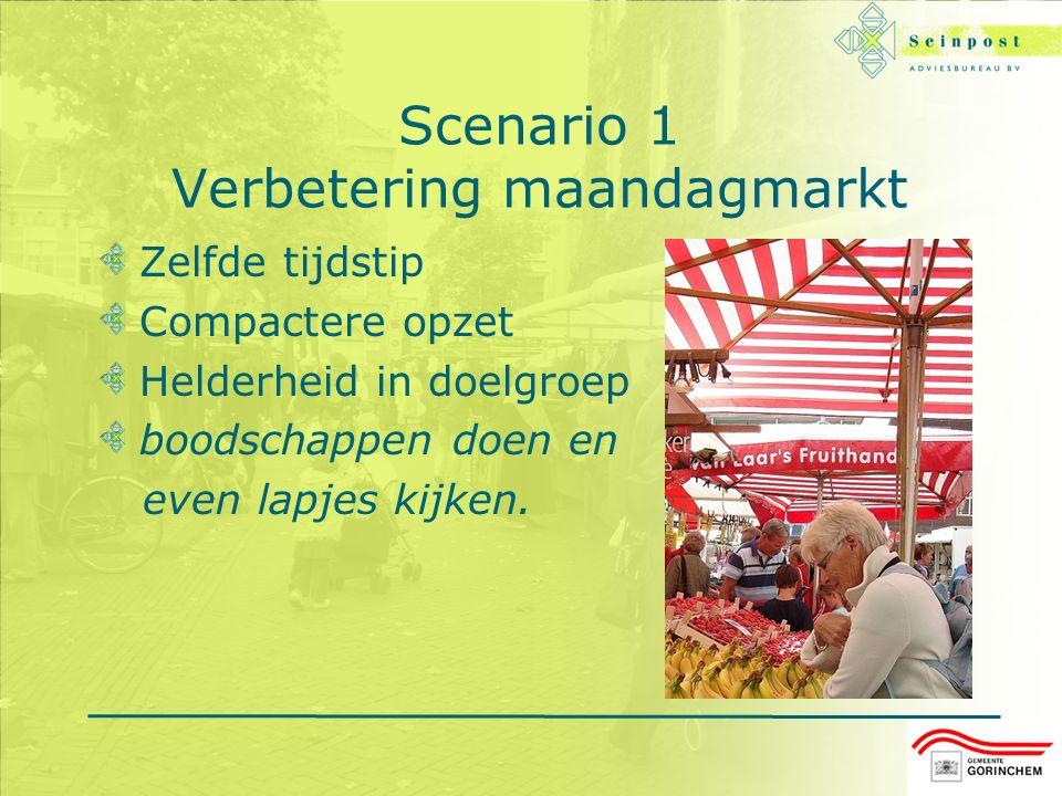 Scenario 1 Verbetering maandagmarkt Zelfde tijdstip Compactere opzet Helderheid in doelgroep boodschappen doen en even lapjes kijken.