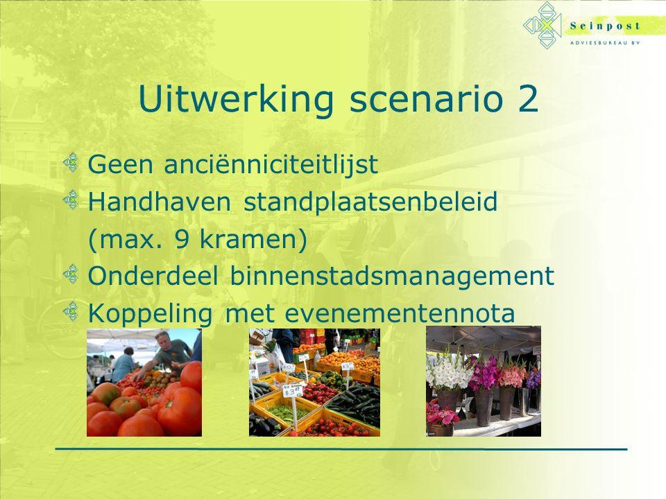 Uitwerking scenario 2 Geen anciënniciteitlijst Handhaven standplaatsenbeleid (max.