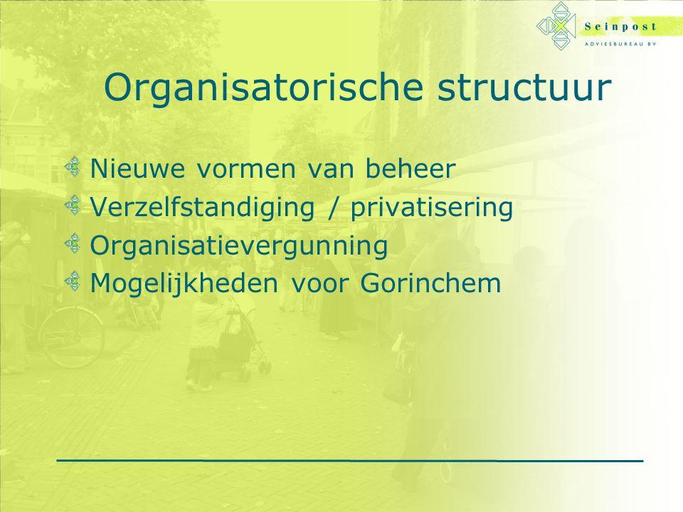 Organisatorische structuur Nieuwe vormen van beheer Verzelfstandiging / privatisering Organisatievergunning Mogelijkheden voor Gorinchem