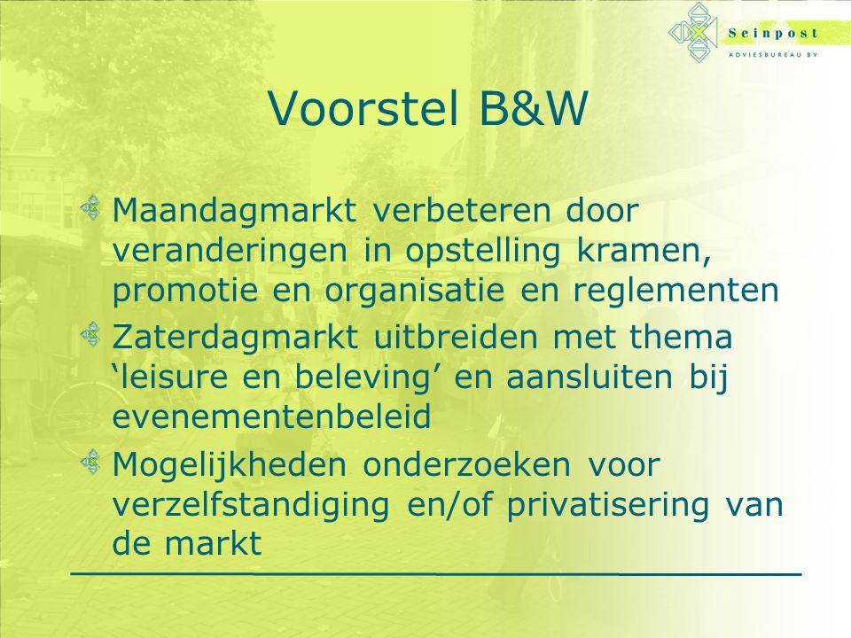 Voorstel B&W Maandagmarkt verbeteren door veranderingen in opstelling kramen, promotie en organisatie en reglementen Zaterdagmarkt uitbreiden met thema 'leisure en beleving' en aansluiten bij evenementenbeleid Mogelijkheden onderzoeken voor verzelfstandiging en/of privatisering van de markt