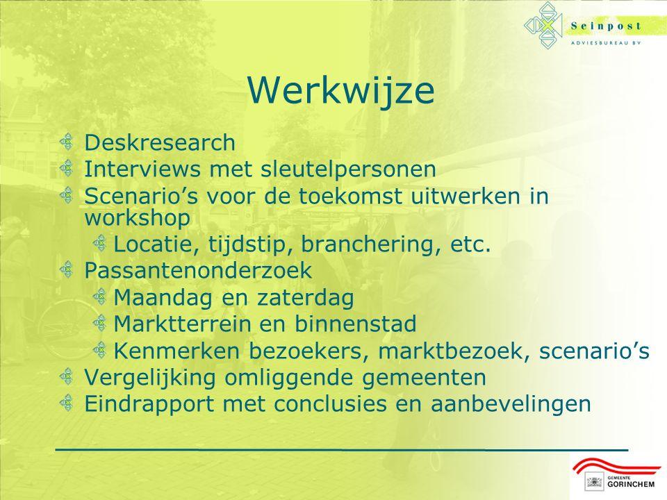 Werkwijze Deskresearch Interviews met sleutelpersonen Scenario's voor de toekomst uitwerken in workshop Locatie, tijdstip, branchering, etc.