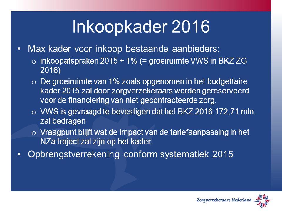 Inkoopkader 2016 Max kader voor inkoop bestaande aanbieders: o inkoopafspraken 2015 + 1% (= groeiruimte VWS in BKZ ZG 2016) o De groeiruimte van 1% zoals opgenomen in het budgettaire kader 2015 zal door zorgverzekeraars worden gereserveerd voor de financiering van niet gecontracteerde zorg.